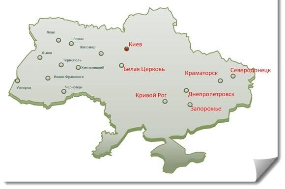 Рисунок 2. География исследования – Центр и Восток