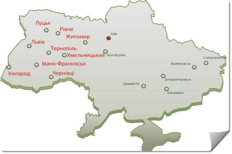 Рисунок 3. География исследования – Запад